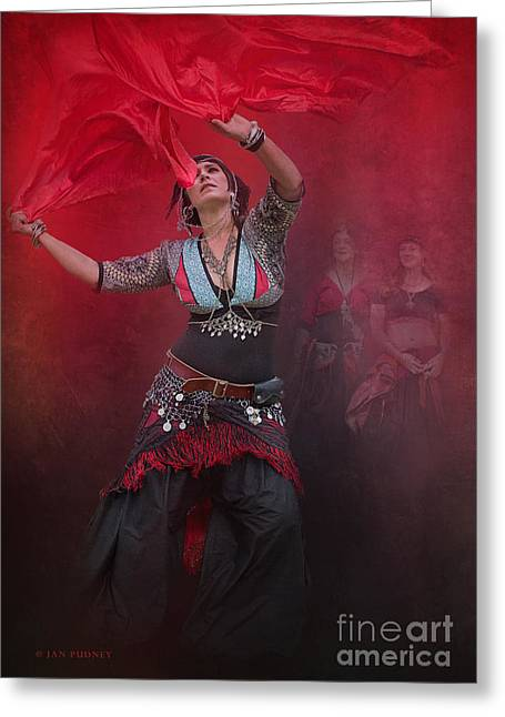 Tribal Belly Dance Greeting Cards - Dance with scarves Greeting Card by Jan Pudney
