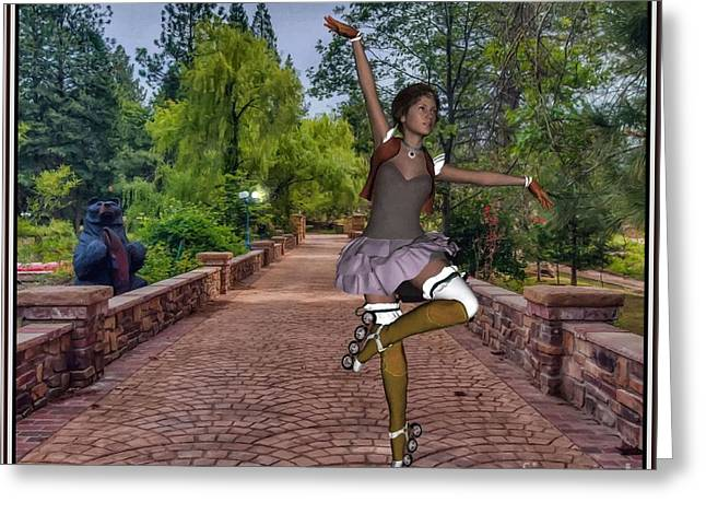 Statue Portrait Paintings Greeting Cards - Dance with skates DWS001 Greeting Card by Pemaro