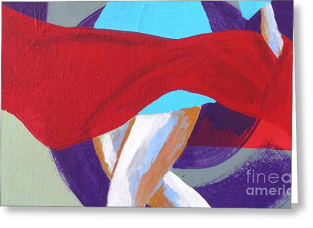 Empowerment Greeting Cards - Dance with the Red Scarf Greeting Card by Jean Fry