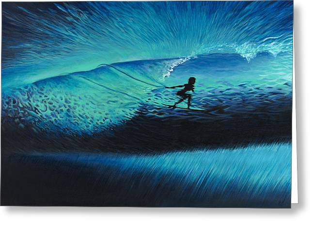 Surf Silhouette Paintings Greeting Cards - Dance with the Sea Greeting Card by Kelly Meagher