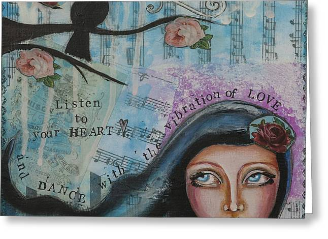 Discovery Mixed Media Greeting Cards - Dance With The Vibration of Love Inspirational Folk Art Greeting Card by Stanka Vukelic