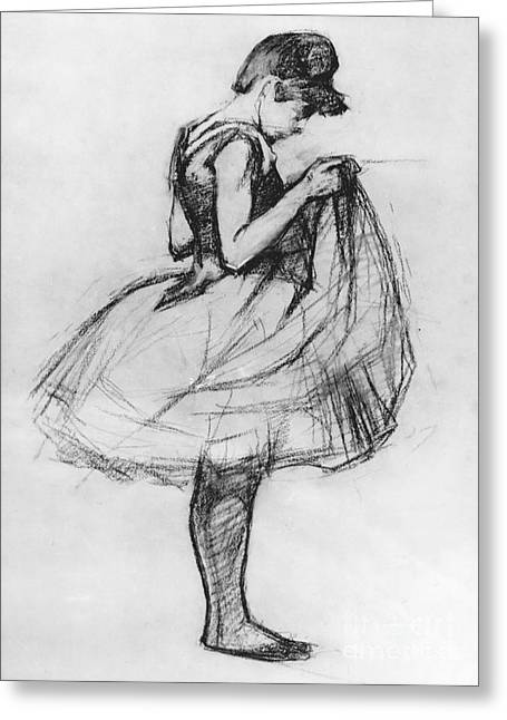 Ballet Dancers Drawings Greeting Cards - Dancer Adjusting her Costume and Hitching up Her Skirt Greeting Card by Henri de Toulouse-Lautrec