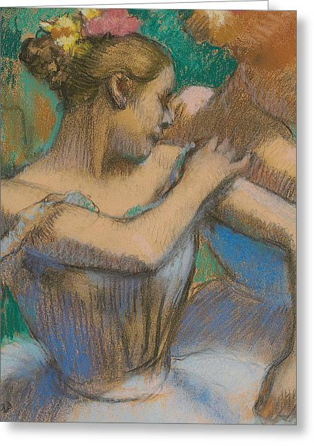 Ballerinas Pastels Greeting Cards - Dancer adjusting her shoulder Greeting Card by Edgar Degas