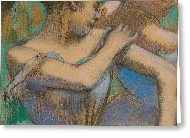 Dancer adjusting her shoulder Greeting Card by Edgar Degas