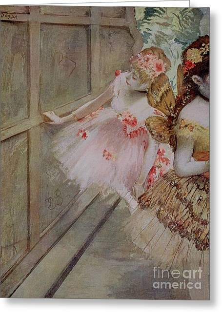 Lean Greeting Cards - Dancer Against a Stage Flat Greeting Card by Edgar Degas