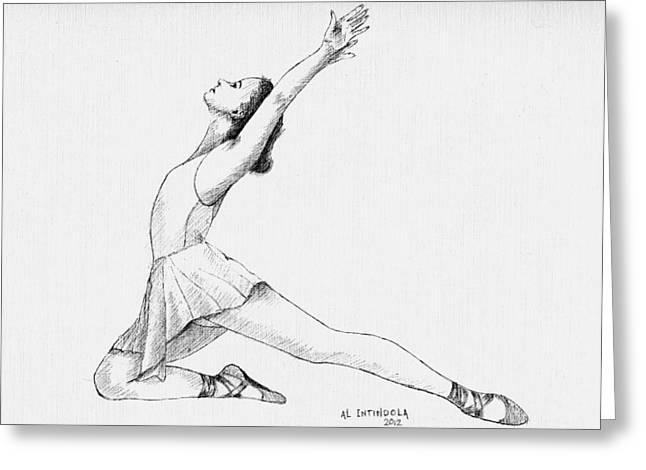 Ballet Dancers Drawings Greeting Cards - Dancer Greeting Card by Al Intindola