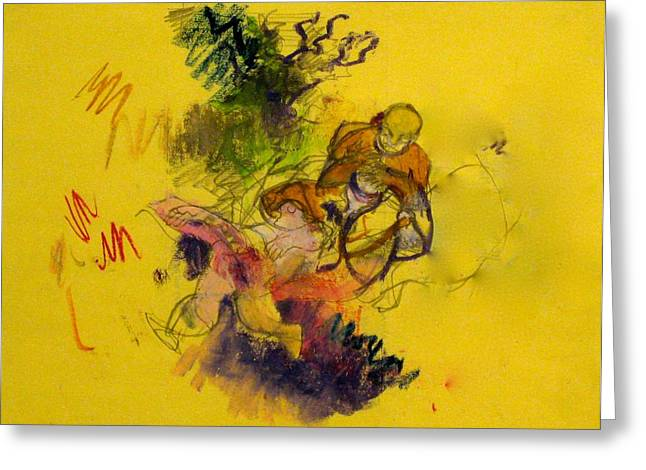 Colored Pencil On Canvas Greeting Cards - Dancer and Drum Greeting Card by Moshe BenReuven