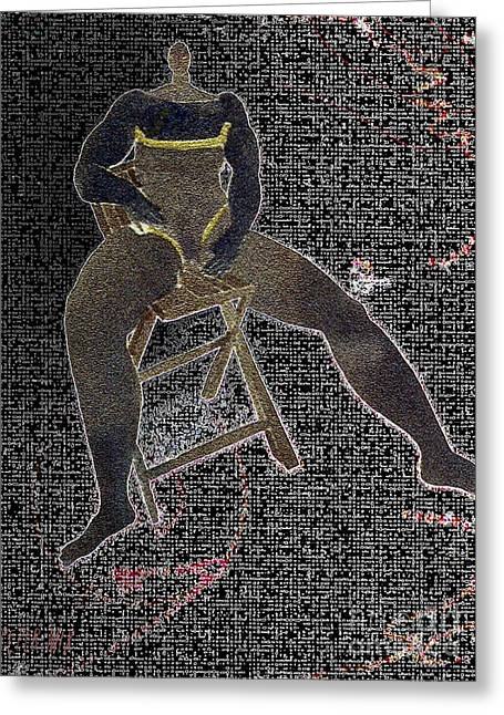 Negro Drawings Greeting Cards - Dancer at Rest in chair  Greeting Card by Peter Mix