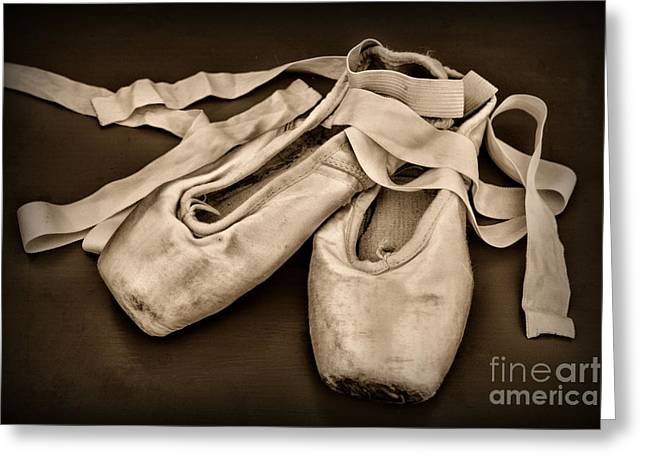 Dance Studio Greeting Cards - Dancer - Ballerina Shoes - Black and White Greeting Card by Paul Ward