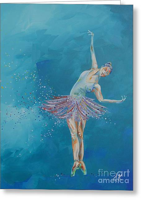 Ballet Dancers Drawings Greeting Cards - Dancer Greeting Card by David Keenan