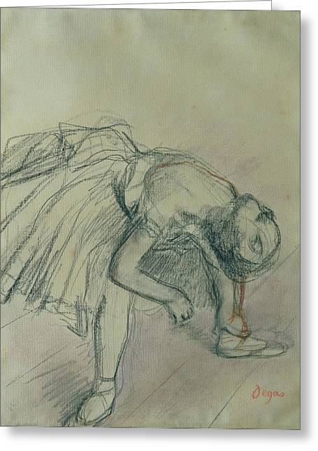 Ballet Dancers Drawings Greeting Cards - Dancer Fixing her Slipper Greeting Card by Edgar Degas