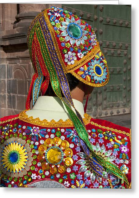 Colorful Beads Greeting Cards - Dancer In Native Costume Peru Greeting Card by Bill Bachmann