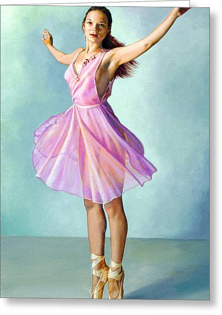 Pink Dress Greeting Cards - Dancer in Pink Greeting Card by Paul Krapf