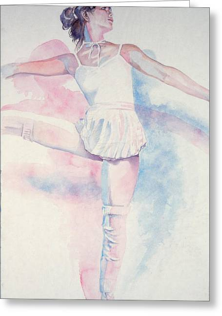 Dancing Girl Greeting Cards - Dancer In Shades Of White Greeting Card by Dan Terry