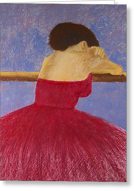 Tutu Pastels Greeting Cards - Dancer in the Red Dress Greeting Card by David Patterson