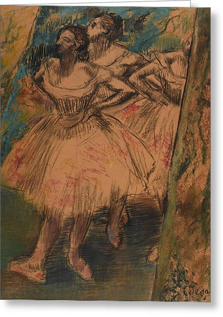 Nervous Greeting Cards - Dancer in the Wing Greeting Card by Edgar Degas