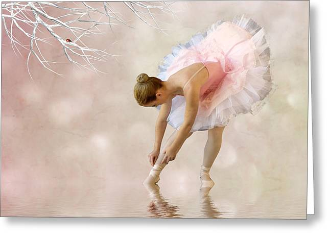 Ballerina Mixed Media Greeting Cards - Dancer in Water Greeting Card by Sharon Lisa Clarke