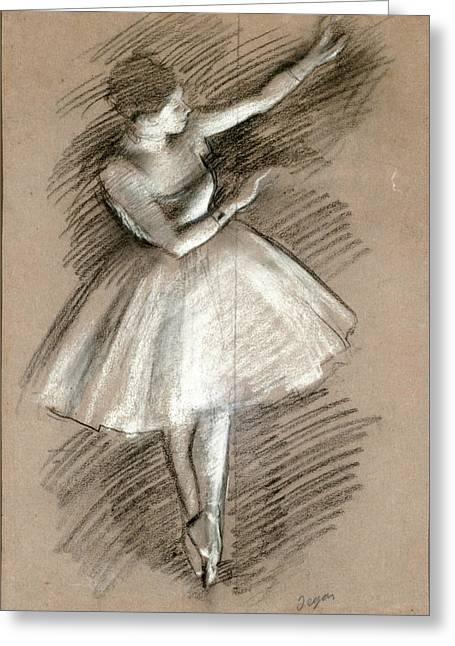 Edgar Drawings Greeting Cards - Dancer in White Greeting Card by Edgar Degas