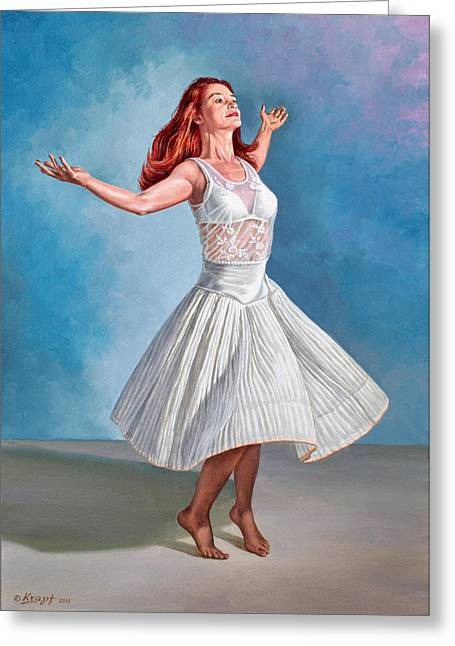 White Dress Paintings Greeting Cards - Dancer in White Greeting Card by Paul Krapf
