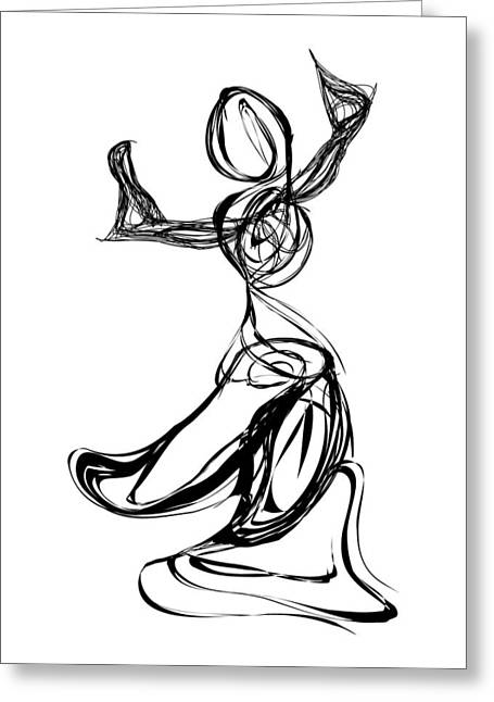 Pen And Ink Drawing Digital Art Greeting Cards - Dancer Greeting Card by Michael Lee