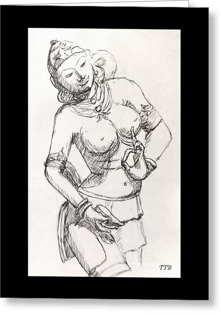 Religious Canvas Prints Drawings Greeting Cards - Dancer of India Greeting Card by Art By - Ti   Tolpo Bader
