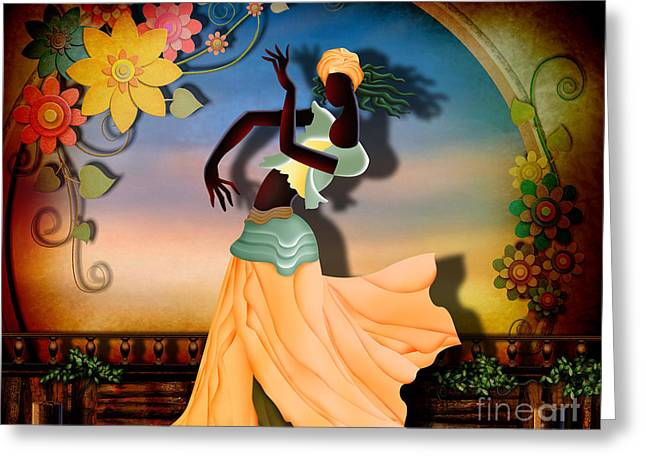 Apricots Mixed Media Greeting Cards - Dancer Of The Balcony Greeting Card by Bedros Awak
