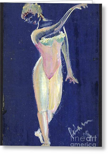 Pencil On Canvas Paintings Greeting Cards - Dancer on Blue 1998 Greeting Card by Cathy Peterson