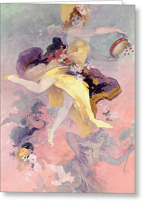 Pink Skirt Greeting Cards - Dancer with a Basque Tambourine Greeting Card by Jules Cheret