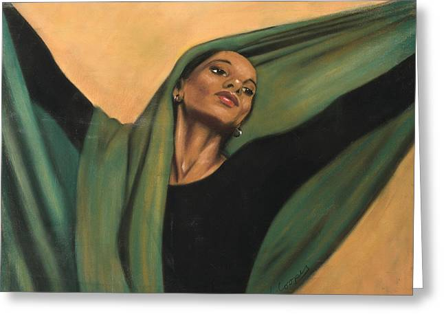 L Cooper Pastels Greeting Cards - Dancer with Green Veil Greeting Card by L Cooper