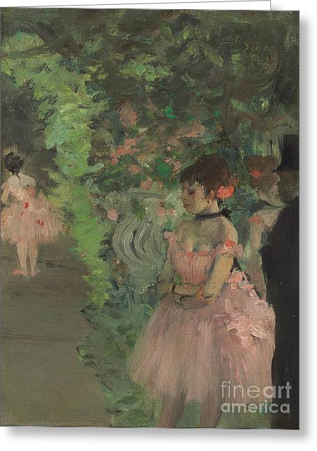 Dancers Backstage Greeting Card by Edgar Degas