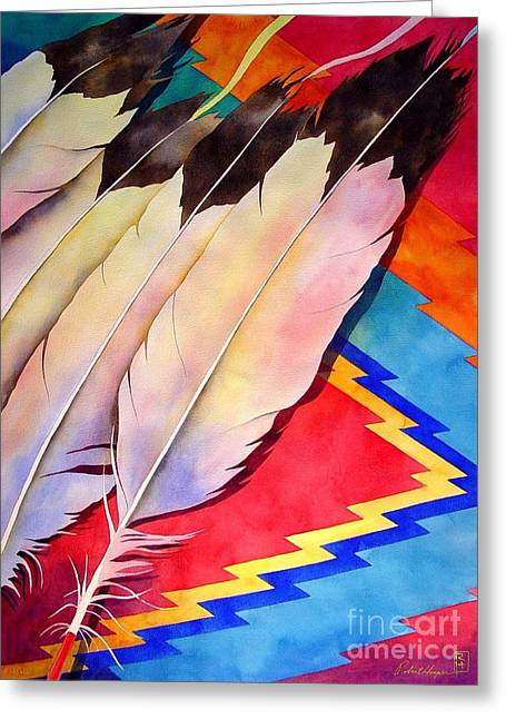 Original Watercolor Greeting Cards - Dancers Feathers Greeting Card by Robert Hooper