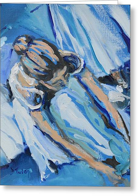 Tying Shoe Greeting Cards - Dancers in Blue Greeting Card by Donna Tuten