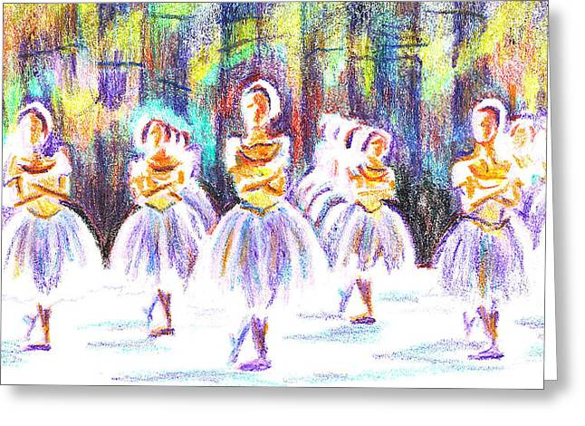 Ballet Dancers Drawings Greeting Cards - Dancers in the Forest II Greeting Card by Kip DeVore