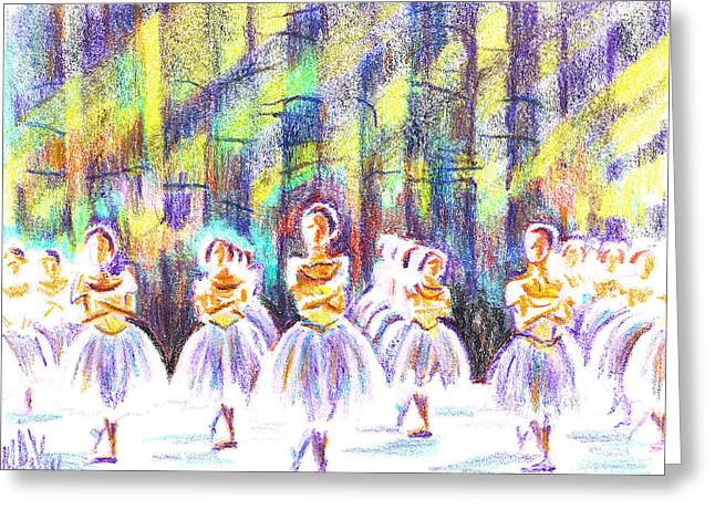 Arcadia Mixed Media Greeting Cards - Dancers in the Forest Greeting Card by Kip DeVore
