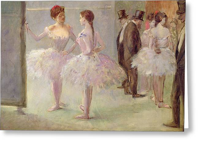 Ballet Dancers Paintings Greeting Cards - Dancers in the Wings at the Opera Greeting Card by Jean Louis Forain