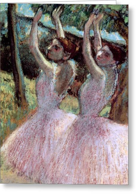 Charcoal Paintings Greeting Cards - Dancers in violet dresses Greeting Card by Edgar Degas