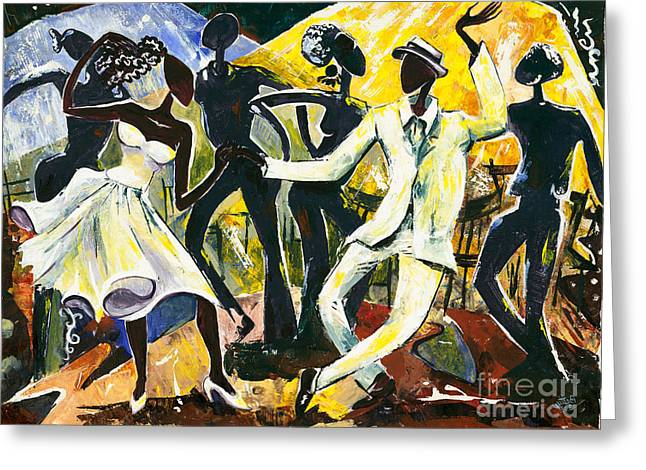 All That Jazz Greeting Cards - Dancers No. 1 - Saturday Nights Out Greeting Card by Elisabeta Hermann