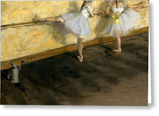 New York The Metropolitan Museum Of Art Greeting Cards - Dancers Practicing at the Bar Greeting Card by Edgar Degas