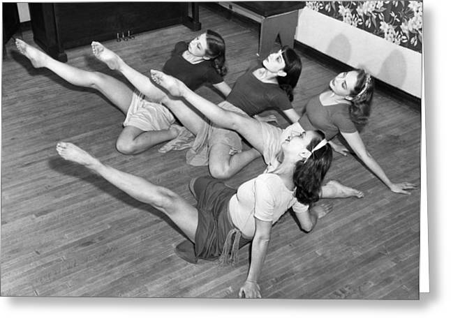Full Skirt Greeting Cards - Dancers Warmup Exercises Greeting Card by Underwood Archives