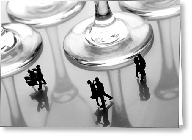 Ball Gown Greeting Cards - Dancing among glass cups Greeting Card by Paul Ge