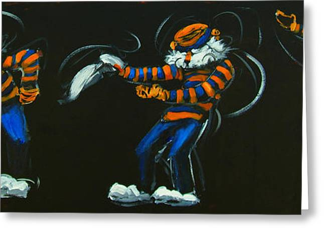 Mascots Paintings Greeting Cards - Dancing Aubie Greeting Card by Carole Foret