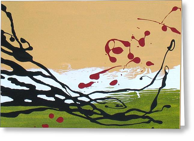 Green And Yellow Abstract Greeting Cards - Dancing Berries - Red Greeting Card by Louise Adams