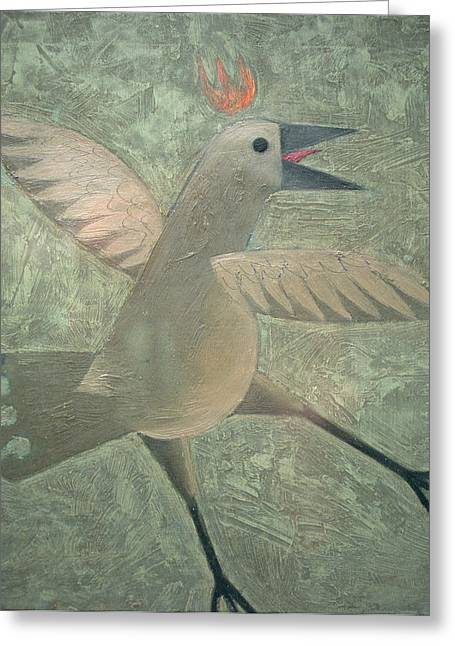 Flaps Greeting Cards - Dancing Bird Oil On Canvas Greeting Card by Peter Fox
