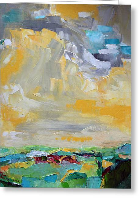 Pallet Knife Greeting Cards - Dancing Clouds  Greeting Card by Becky Kim