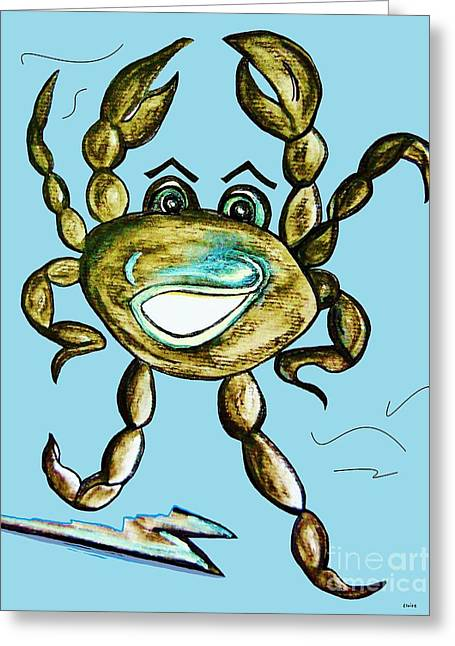 Pen Greeting Cards - Dancing Crab Greeting Card by Eloise Schneider