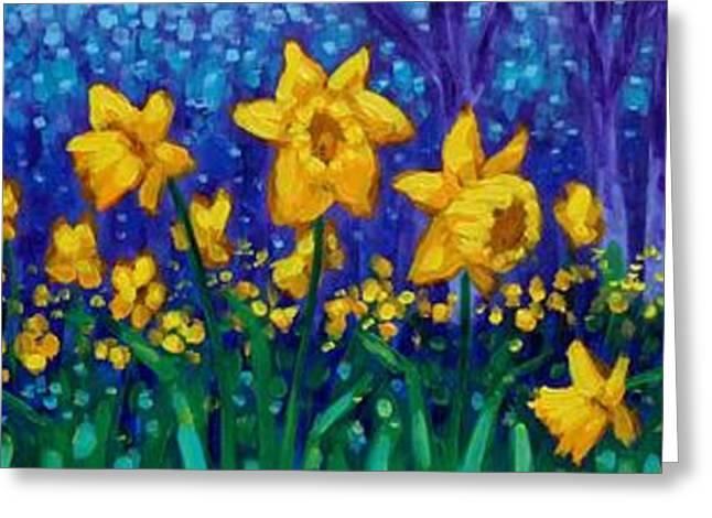 Acrylic Art Greeting Cards - Dancing Daffodils  Greeting Card by John  Nolan