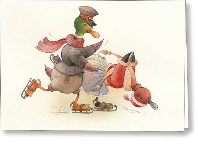 White Drawings Greeting Cards - Dancing Ducks 03 Greeting Card by Kestutis Kasparavicius