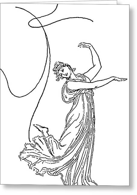Pen And Ink Drawing Greeting Cards - Dancing Figure Line Drawing Greeting Card by