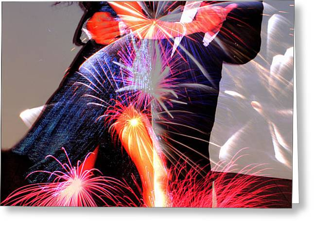 Dancing Fireworks Greeting Card by M and L Creations