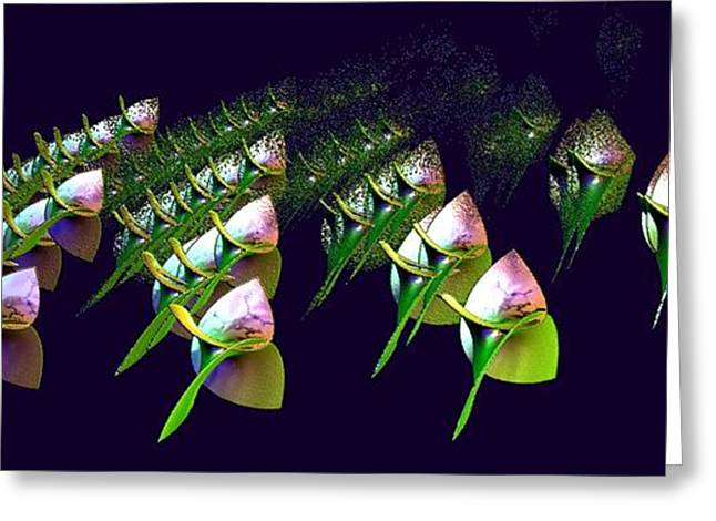Floral Digital Art Greeting Cards - Dancing Flower Buds Greeting Card by Gail Matthews
